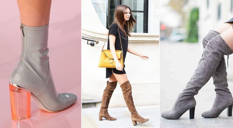 Модные сапоги на устойчивом каблуке осень-зима 2018-2019