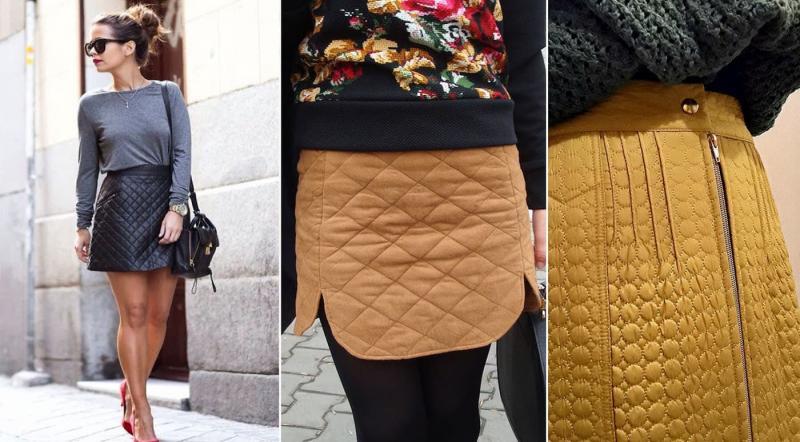 Модные стеганные юбки осень-зима 2018-2019