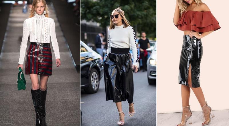 Модные юбки-глянец осень-зима 2018-2019
