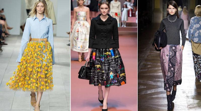 Модные юбки со сложным принтом осень-зима 2018-2019